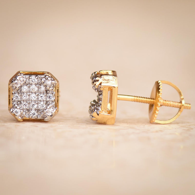 3D Cubic Yellow Gold Finish Iced Out Cz Studs