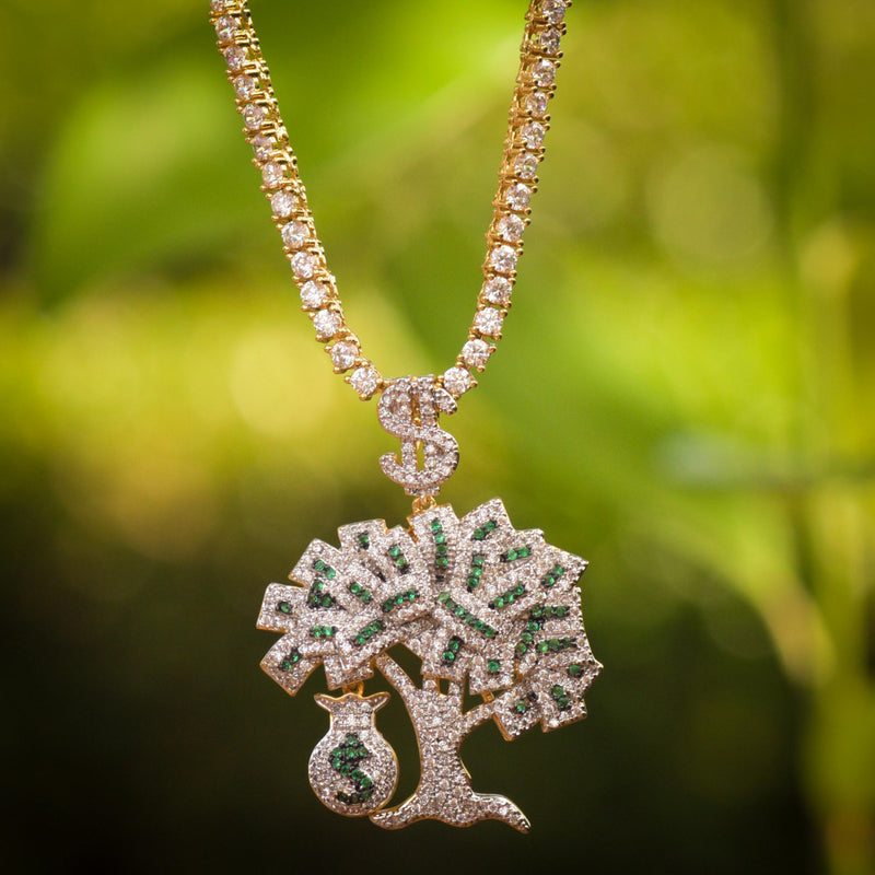 Money Tree Custom Piece Fully Iced Out 14k Yellow Gold Finish Money Bag Charm with Tennis Chain
