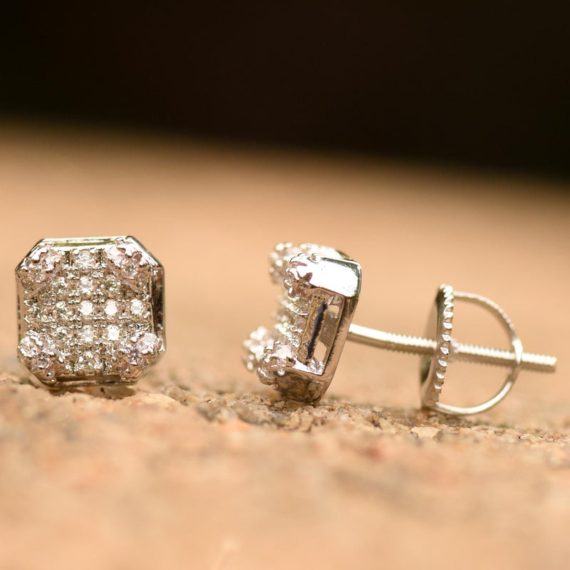 3D Cubic White Gold Finish Iced Out Cz Studs