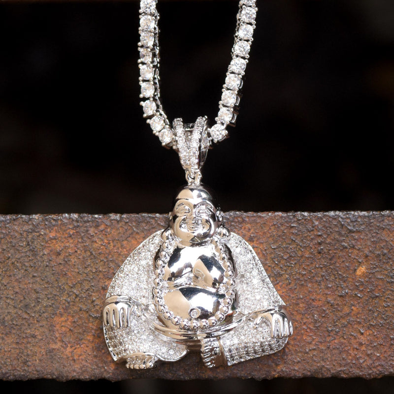 Budddha Custom Religious Pendant 14k White Gold Finish With Tennis Link Chain