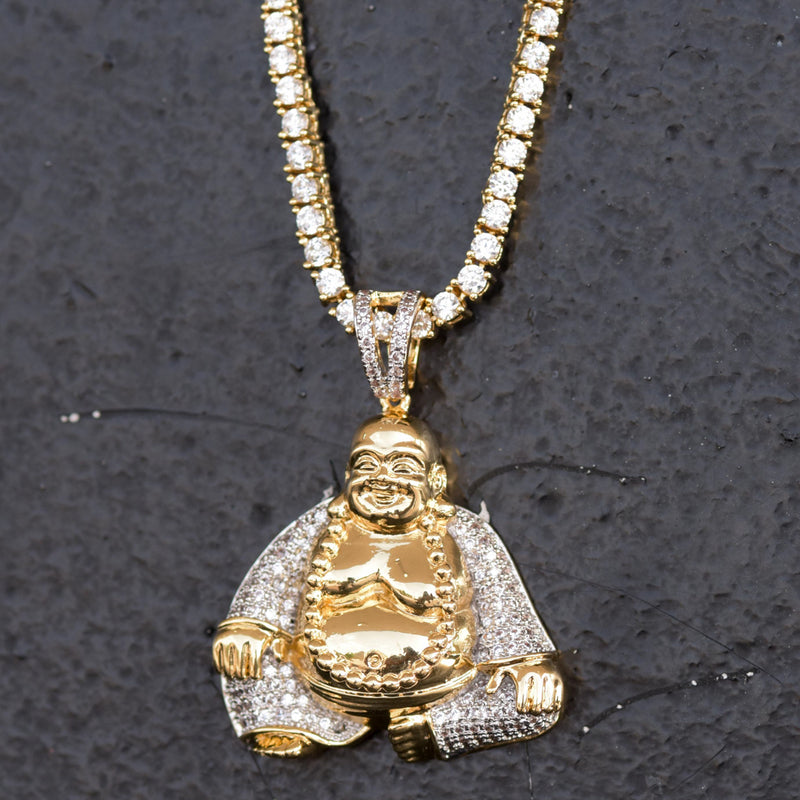 Budddha Custom Religious Pendant 14k Yellow Gold Finish With Tennis Link Chain