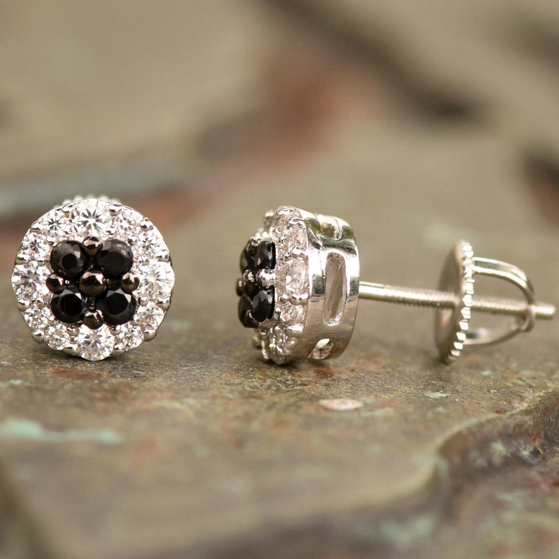 8mm Flower Cluster Black White CZ Studs