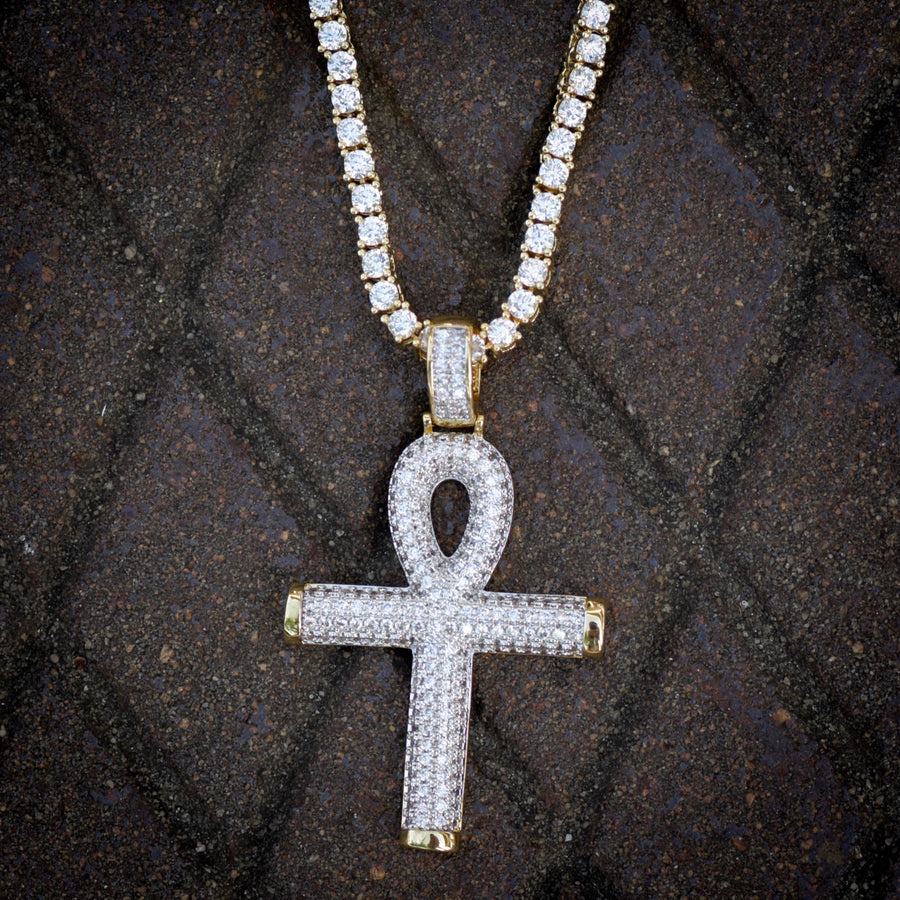 Religious Ankh Pendant 14k Yellow Gold Finish Fully Iced Out With Tennis Link Chain