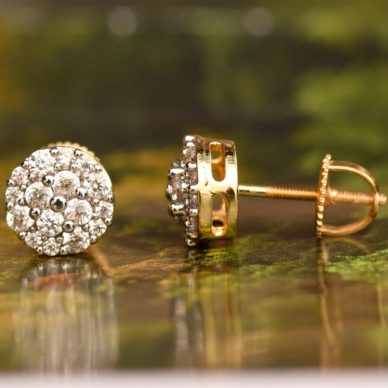 8mm Flower Cluster 14k Yellow Gold Finish CZ Studs