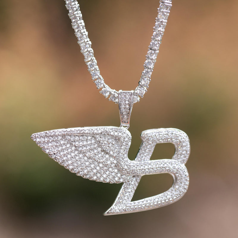 Angel Wings B Pendant Luxury Car Logo 14k White Gold Finish With Tennis Link chain