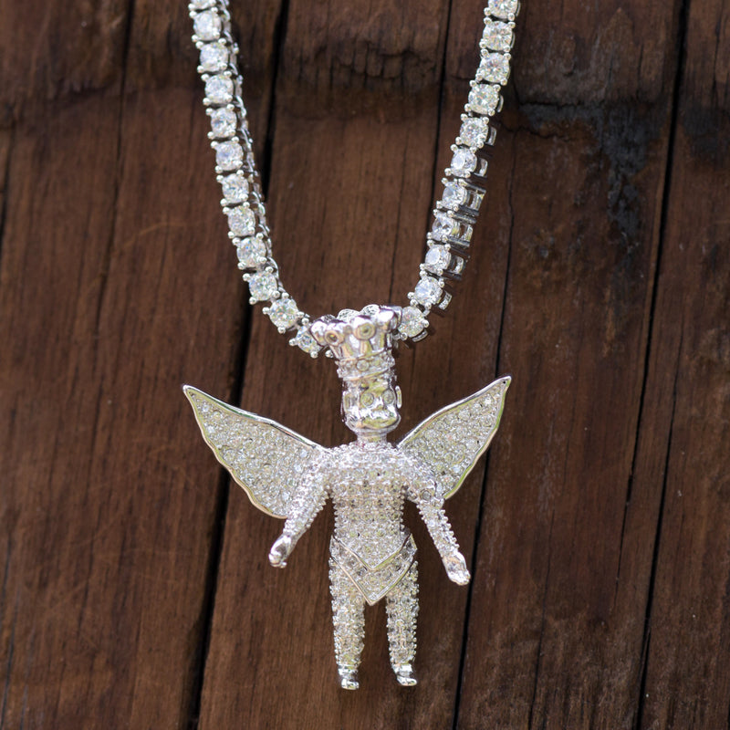 Custom Piece Angel With Crown Iced Out Pendant 14K White Gold Finish With Tennis Link Chain