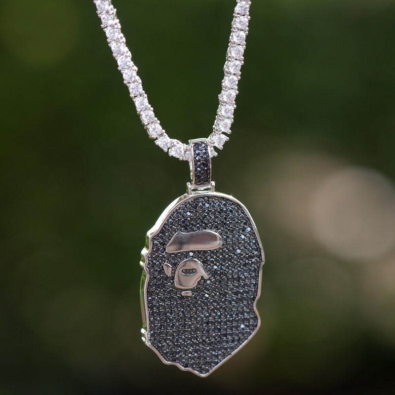 Custom Ape Iced Out 14k White Gold Finish Pendant With Tennis Link Chain