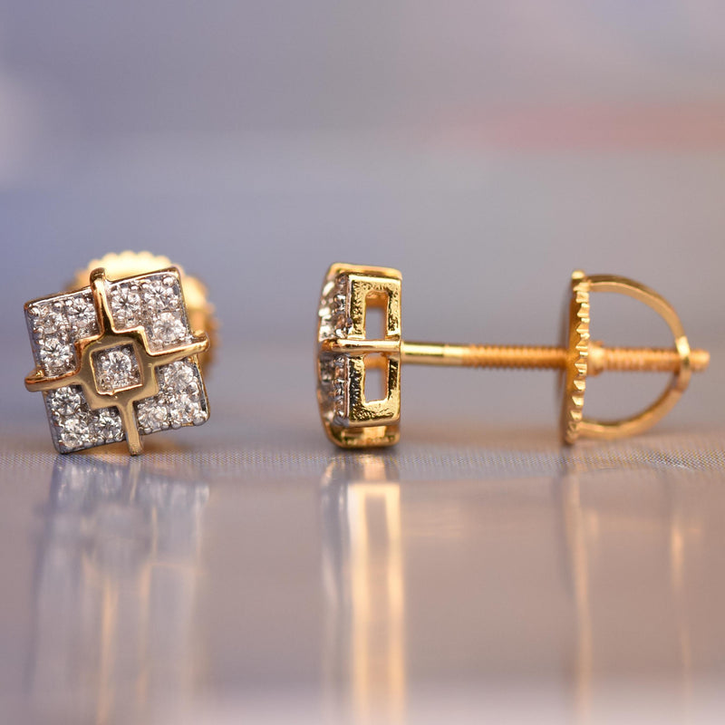 Designer Square 6mm Iced Out Gold Tone Studs