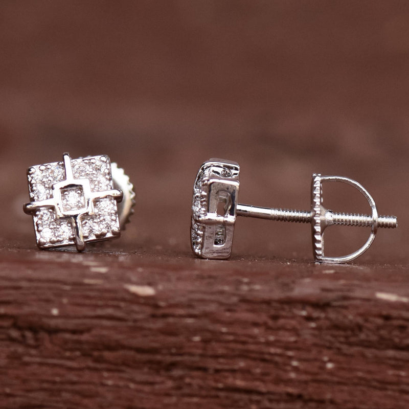 Designer Square 6mm Iced Out White Tone Studs