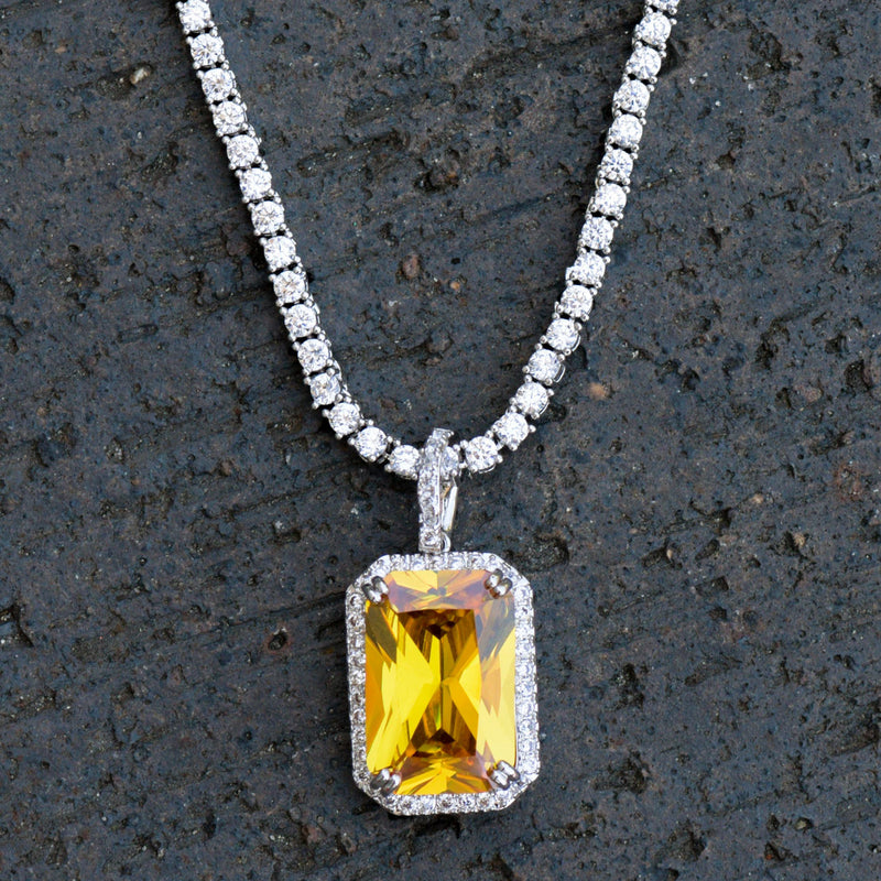 Designer Ruby Topaz Style Fashion Pendant 14K White Gold Finish With Tennis Chain