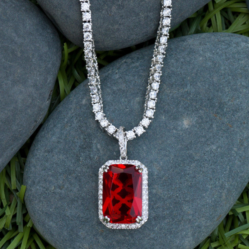 Designer Square Red Ruby Style Fashion Pendant 14K White Gold Finish With Tennis Chain