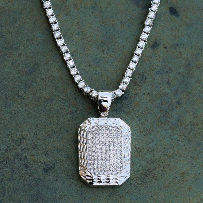 Designer Dog Tag 14k White Gold Finish With Tennis Link Chain