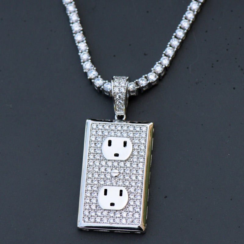 Custom Switch Plug Pendant Fully Iced Out 14k White Gold Finish With Tennis Chain