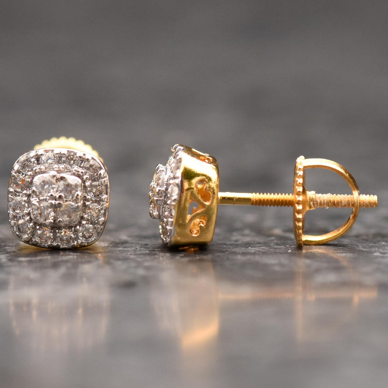 Small Octagon Iced Out 14K Yellow Gold Finish CZ Earrings