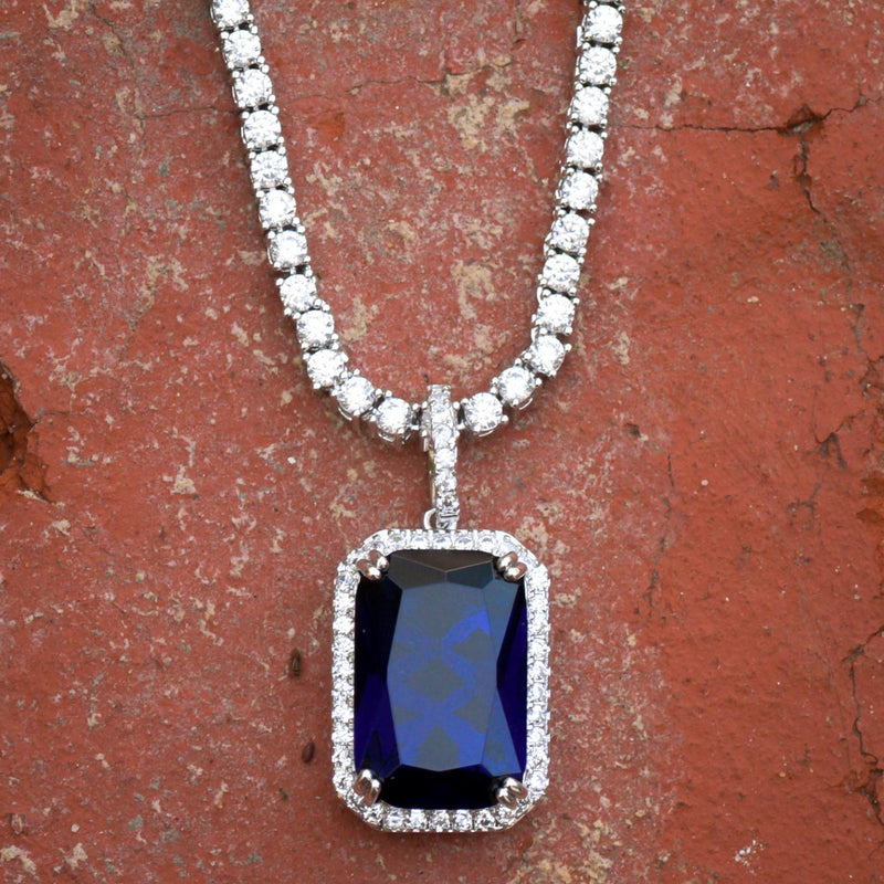 Designer Square Sapphire Style Pendant 14k White Gold Finish With tennis Link Chain