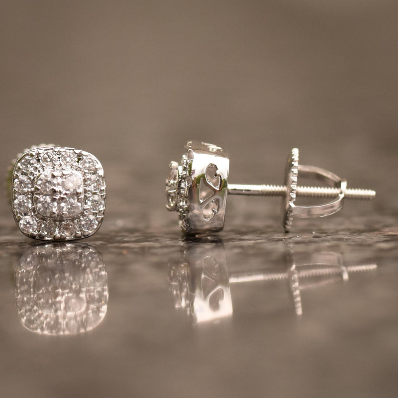Small Octagon Iced Out 14K White Gold Finish CZ Earrings
