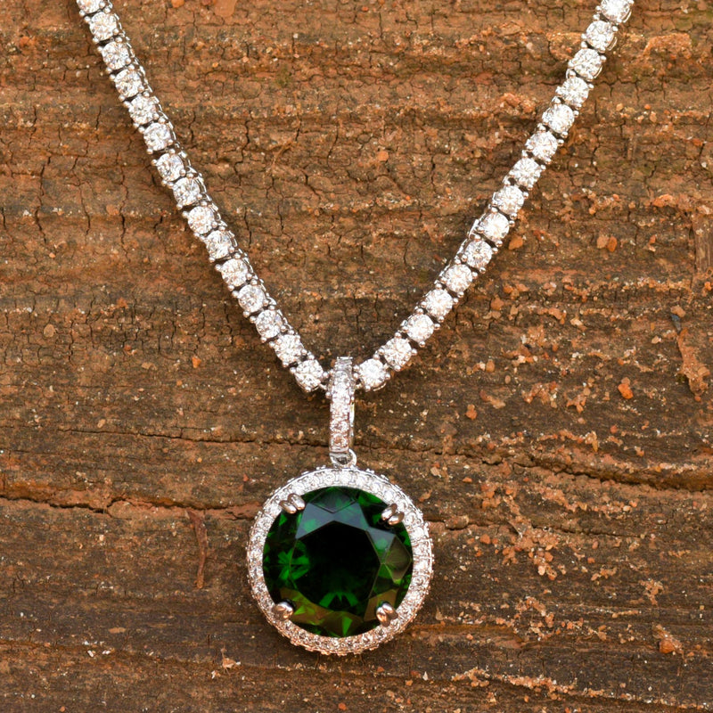 Designer Round Ruby Emerald Stone Fashion Pendant 14K White Gold Finish With Tennis Chain
