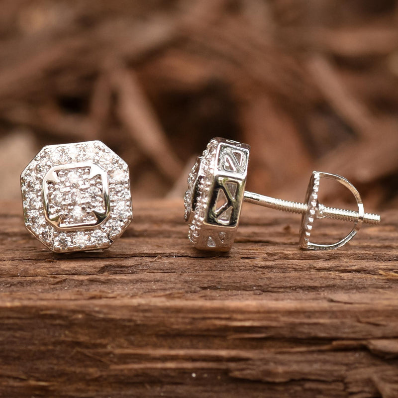 Octagon Iced Out 14K White Gold Finish CZ Earrings