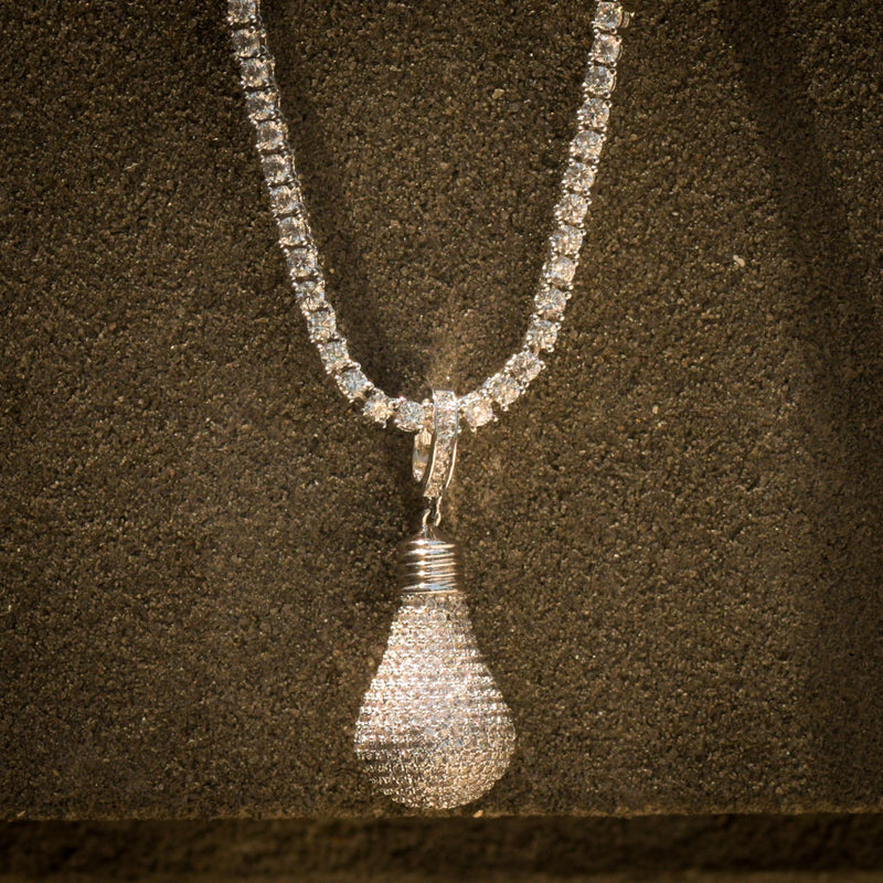 Designer Light Bulb Fully Iced Out Pendant 14k White Gold Finish With Tennis Link Chain