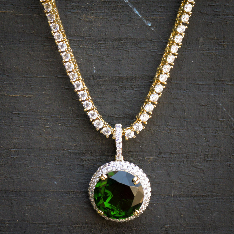 Designer Ruby Emerald Style Fashion Pendant 14K Yellow Gold Finish With Tennis Chain