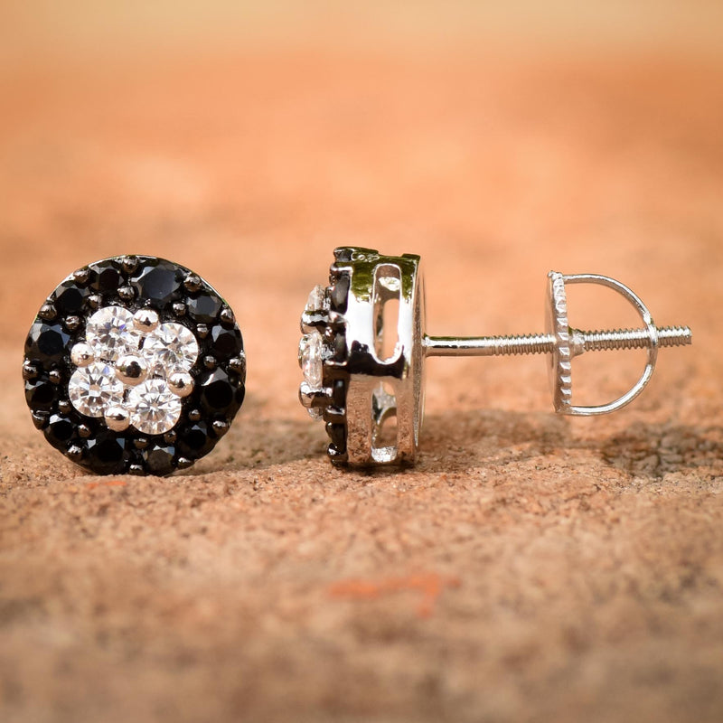 10MM Round Iced Out Black & White CZ Earrings Over 14k White Gold Finish