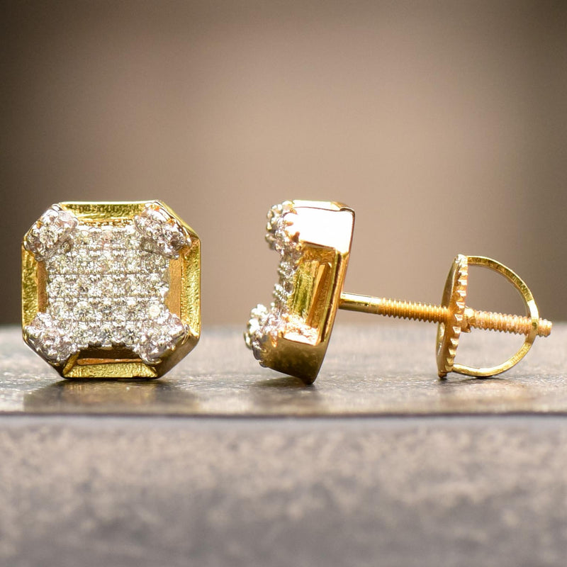 3D Edgy Box Iced Out 14k Yellow Gold Finish Studs