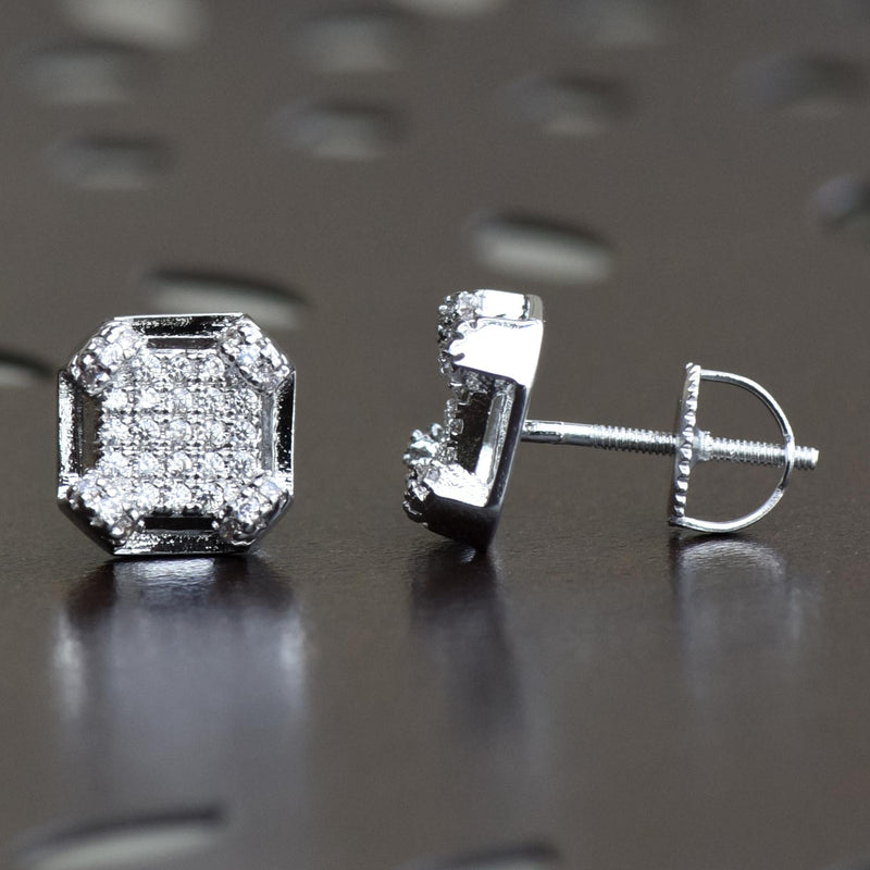 3D Edgy Box Iced Out 14k White Gold Finish Studs