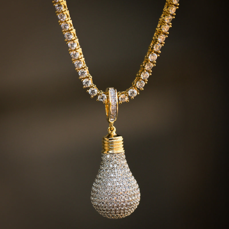Designer Light Bulb Fully Iced Out Pendant 14k Yellow Gold Finish With Tennis Link Chain