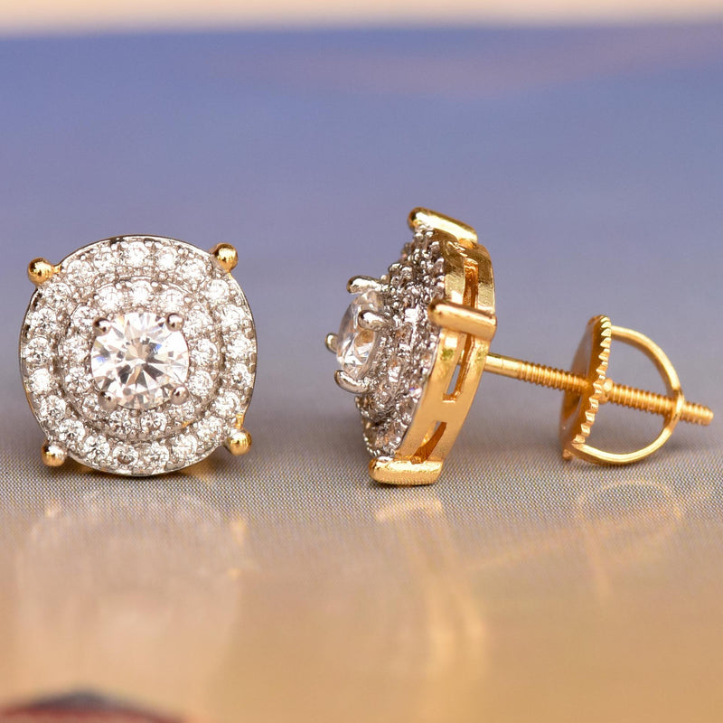 Solitaire Prong 10mm Iced Out Yellow Gold Tone Earrings