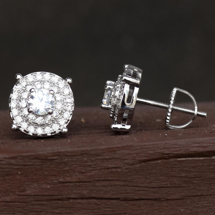 Solitaire Prong 10mm Iced Out White Gold Tone Earrings