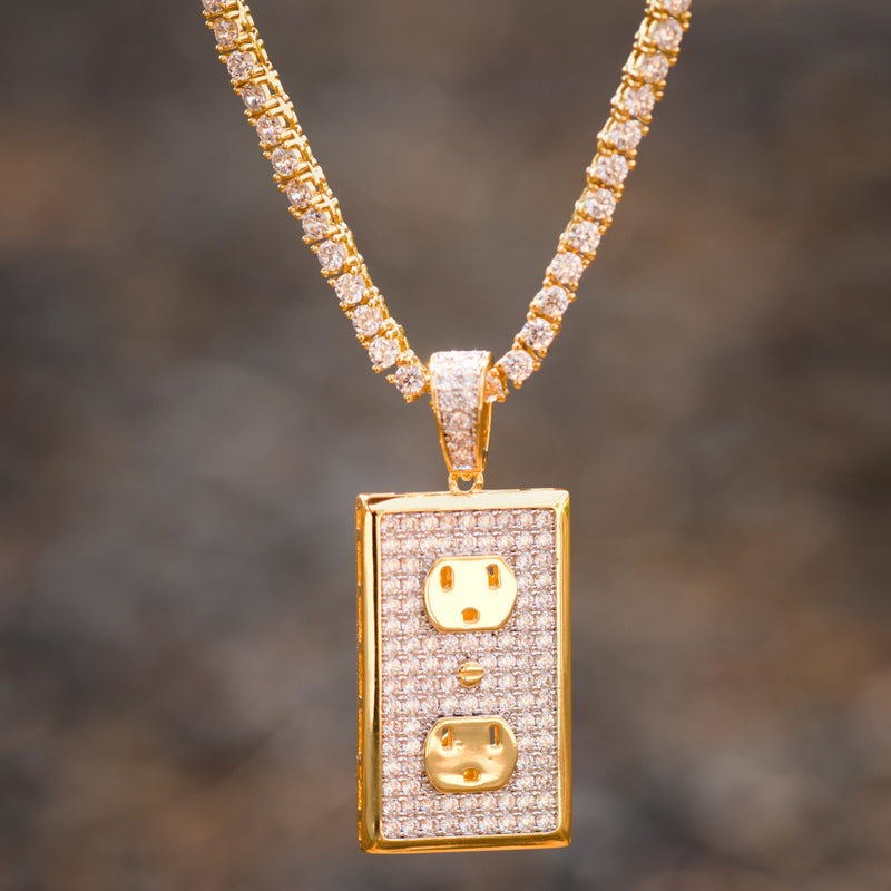 Custom Switch Plug Pendant Fully Iced Out 14k Yellow Gold Finish With Tennis Chain