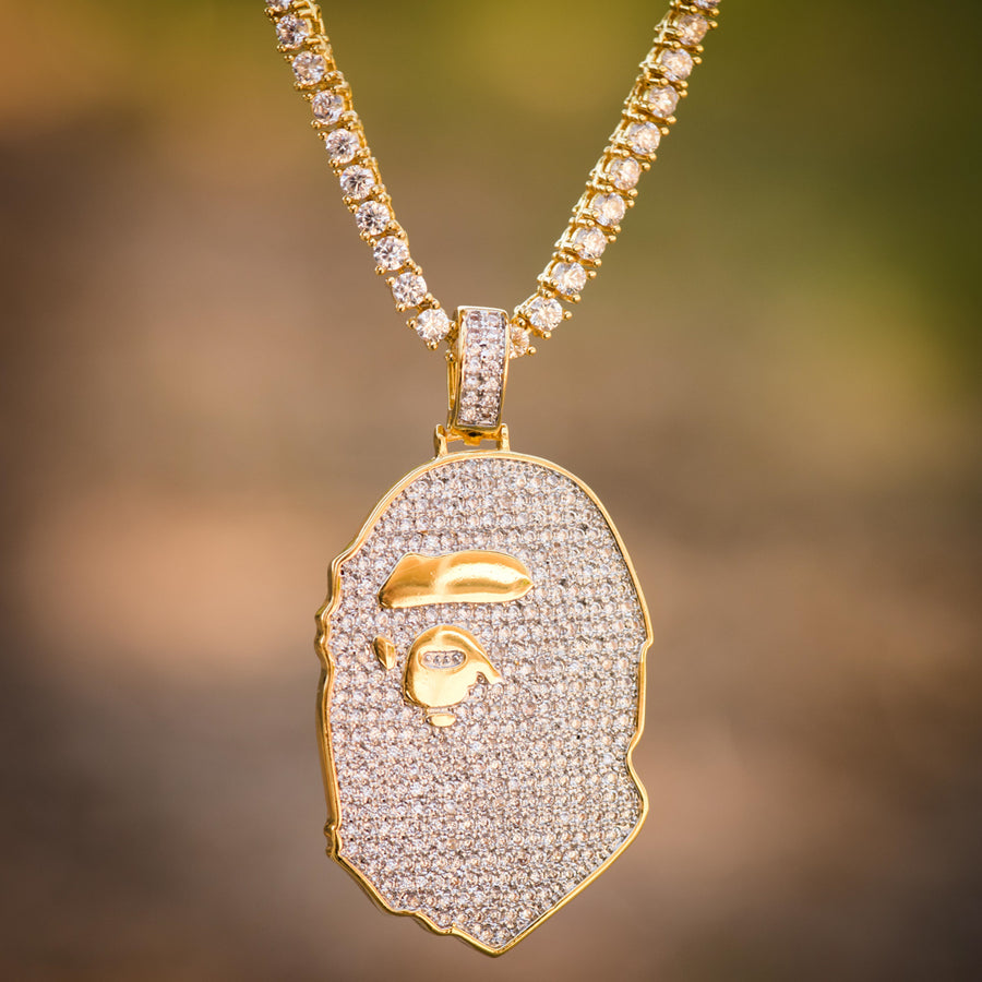 Custom Ape Iced Out 14k Yellow Gold Finish Pendant With Tennis Link Chain