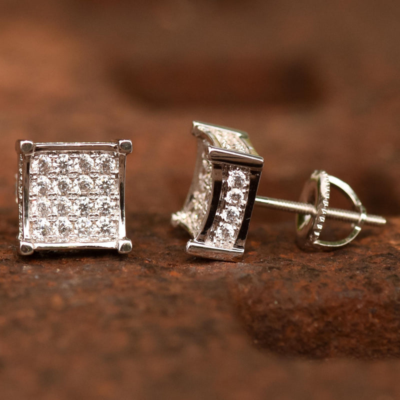 9MM Kite Iced Out Earnings 14k White Gold Finish