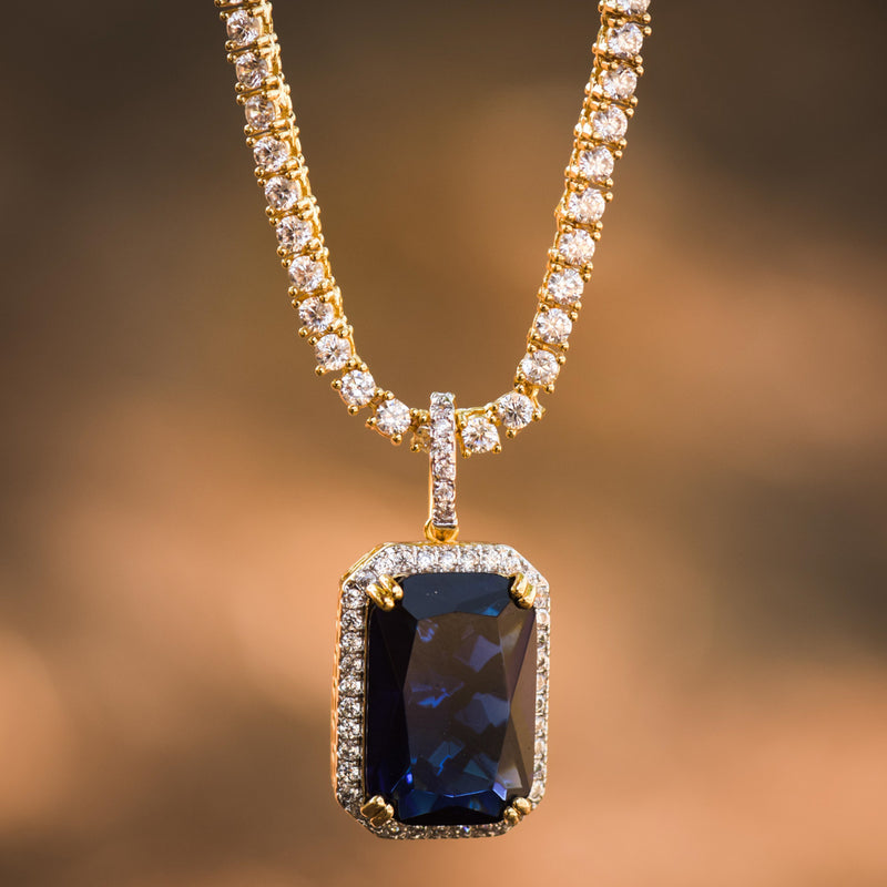 Designer Square Ruby Sapphire Style Fashion Pendant 14K Yellow Gold Finish With Tennis Chain