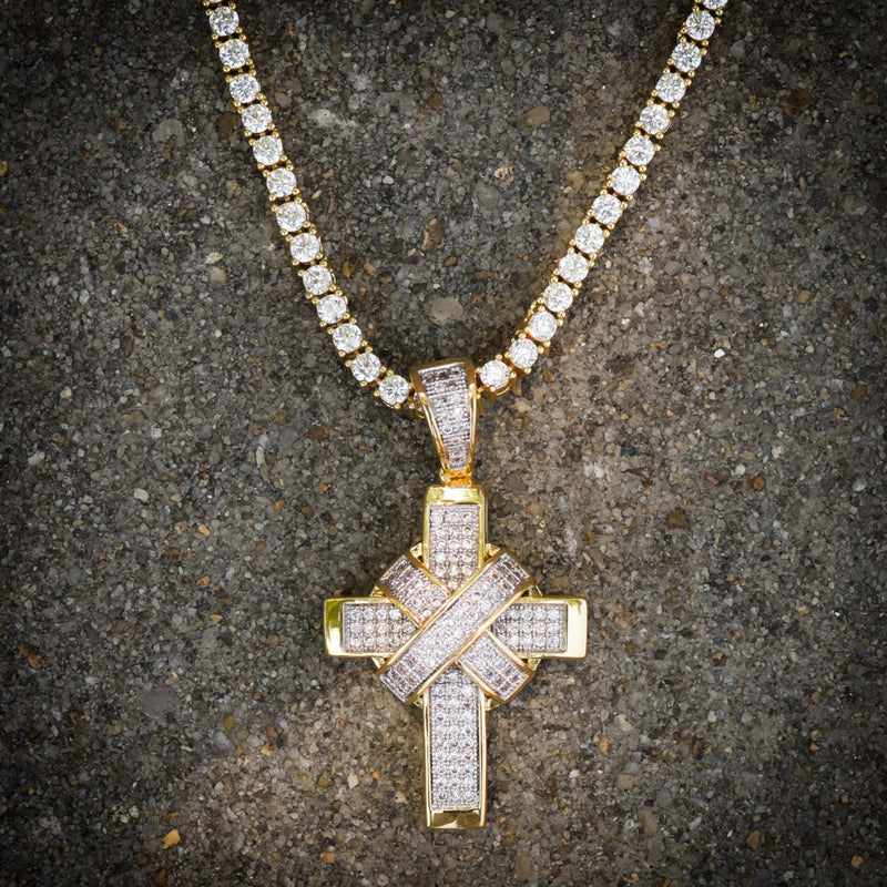 Ribbon Designer Cross 14k Yellow Gold Finish With Tennis Chain