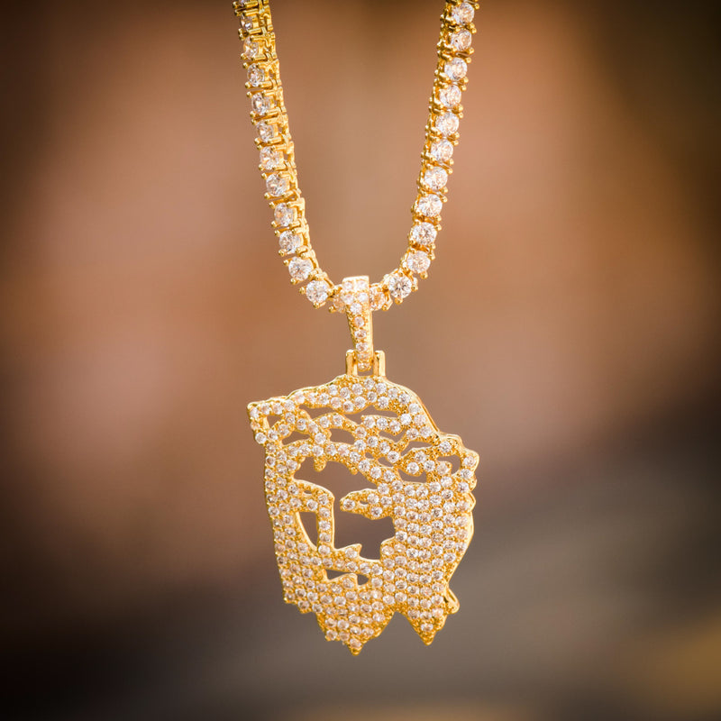 Ghost Jesus Face Custom Charm Fully Iced Out 14k Yellow Gold Finish Charm