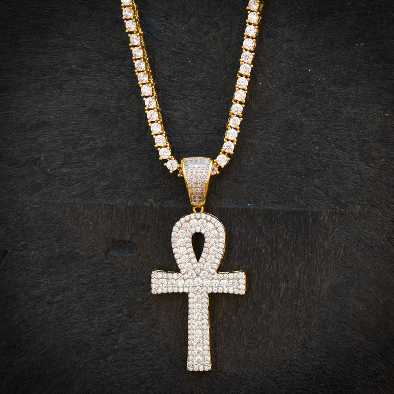 Custom Fully Iced Out Ankh 14k Yellow Gold Finish Pendant
