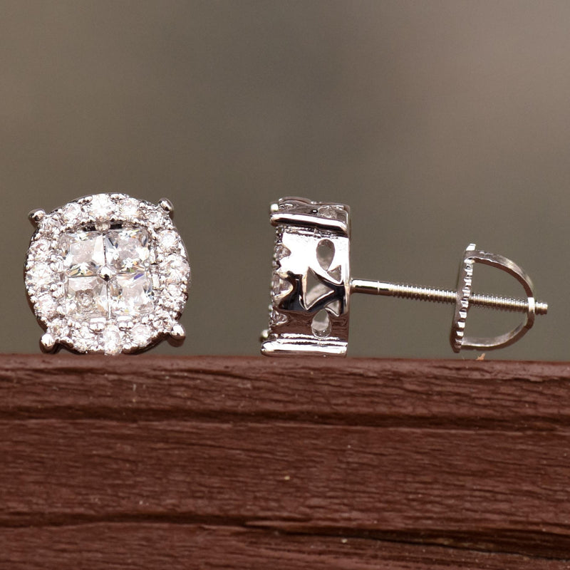 14k White Gold Rounded Earrings Fully Iced Out 9MM