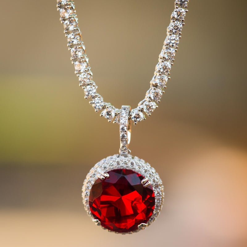 Designer Ruby Style Fashion Pendant 14K White Gold Finish With Tennis Chain