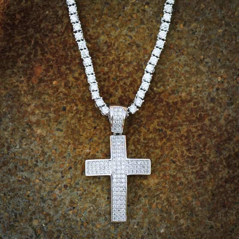 Religious Cross Pendant 14 White Gold Finish With Tennis Link Chain