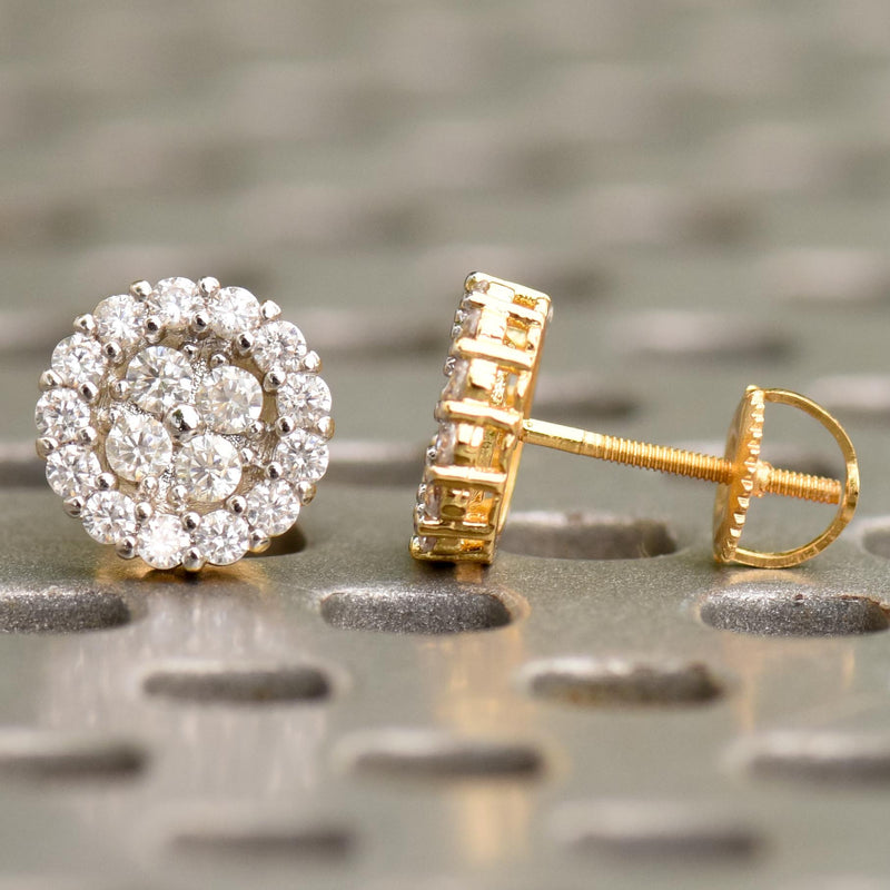 10MM Iced Out Flower Cluster CZ Earrings Gold Tone