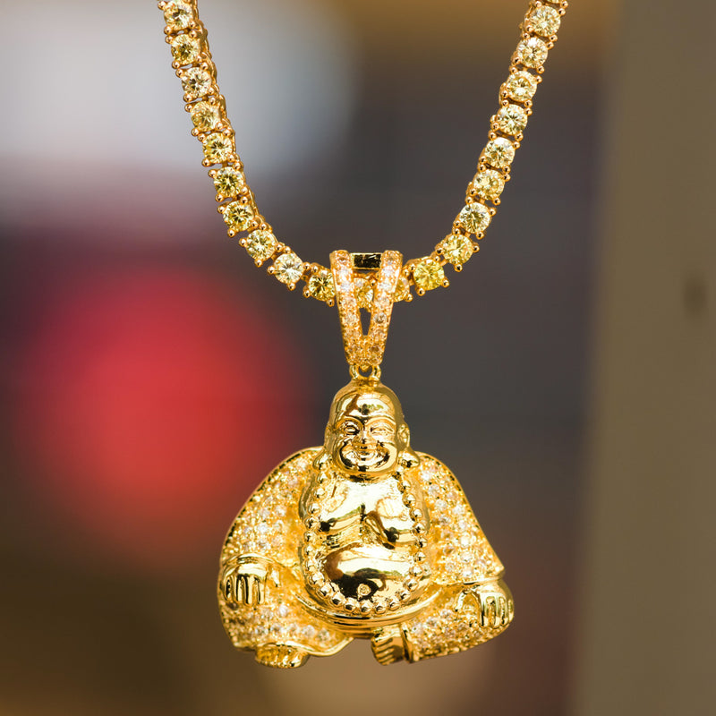 Budddha Custom Religious Pendant 14k Yellow Gold Finish