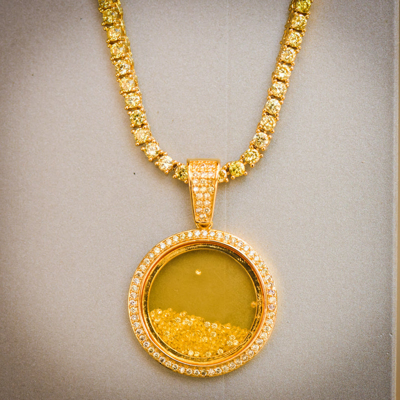 Canary Floating Stones Glass Pendant With Tennis Necklace