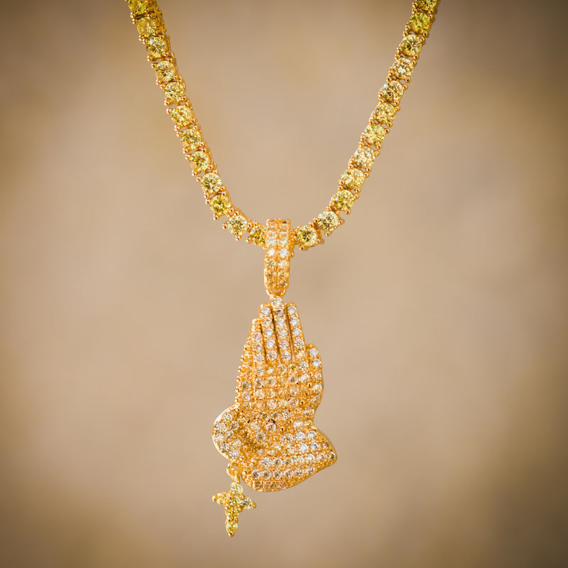 Praying Hand Pendant Fully Iced Out New Religious 14k Finish Over With Tennis Link Chain