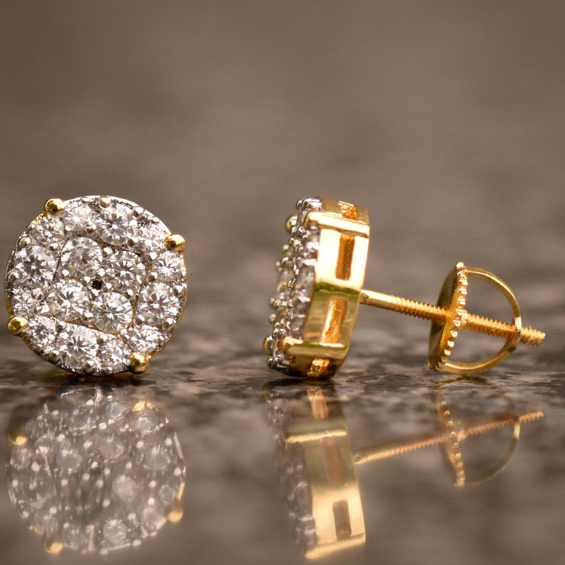 Gold Tone CZ 10MM Stud Halo Designer Earrings