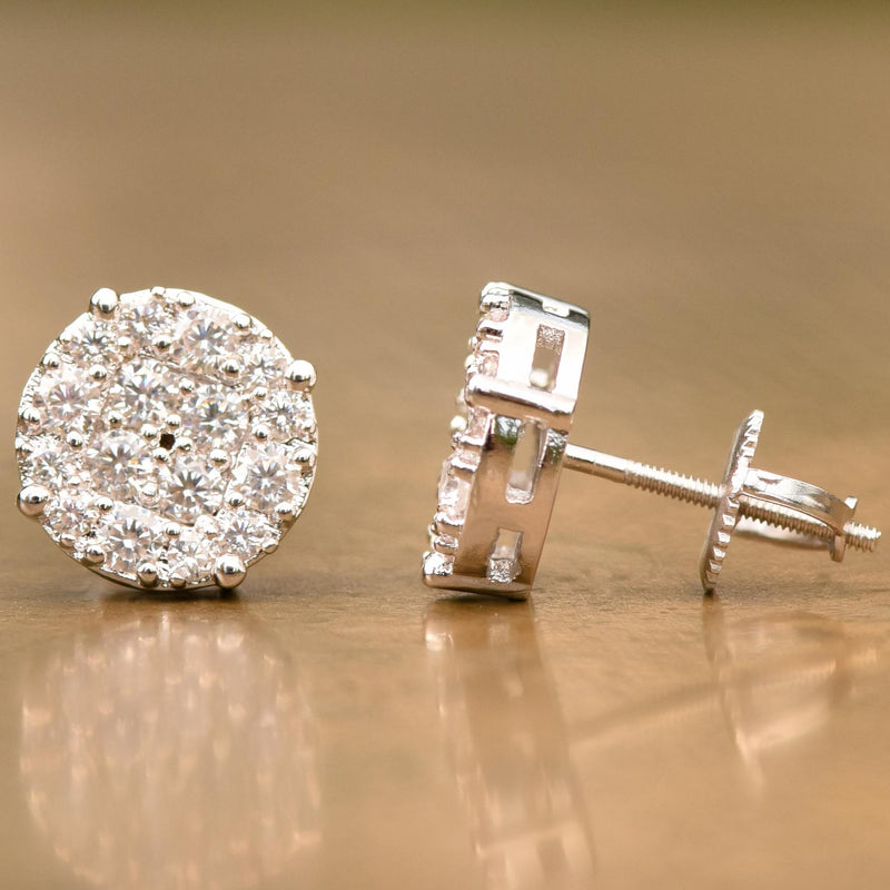 White Tone CZ 10MM Stud Halo Designer Earrings