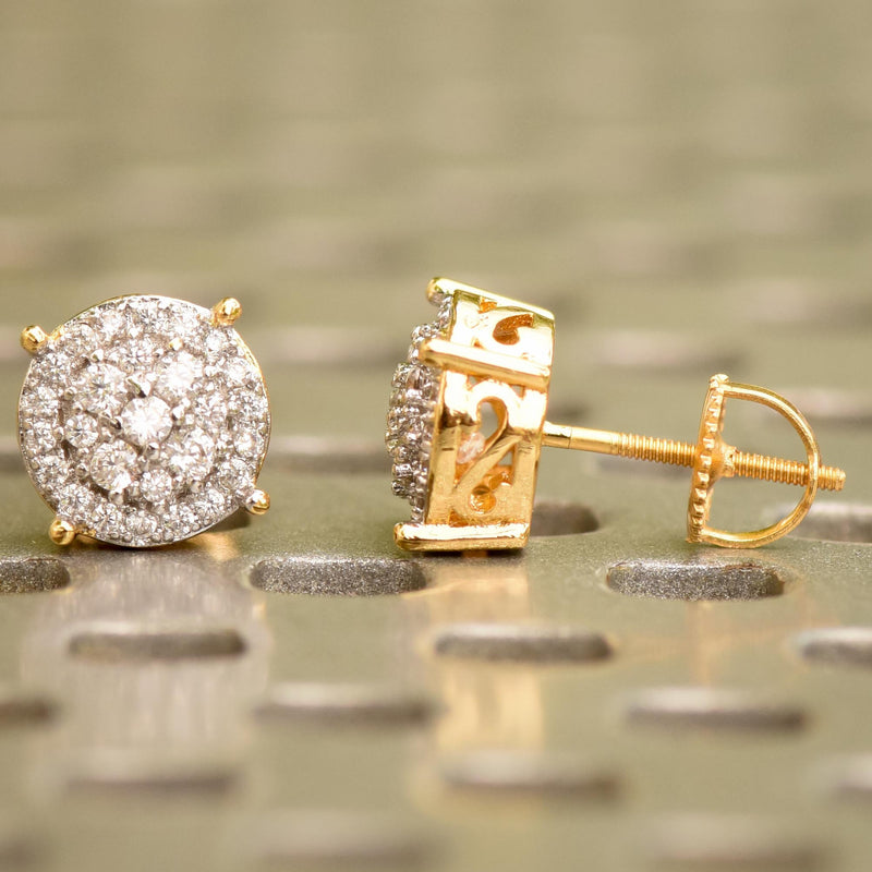 Prong Iced Out CZ Halo 14K Yellow Gold Finish Studs