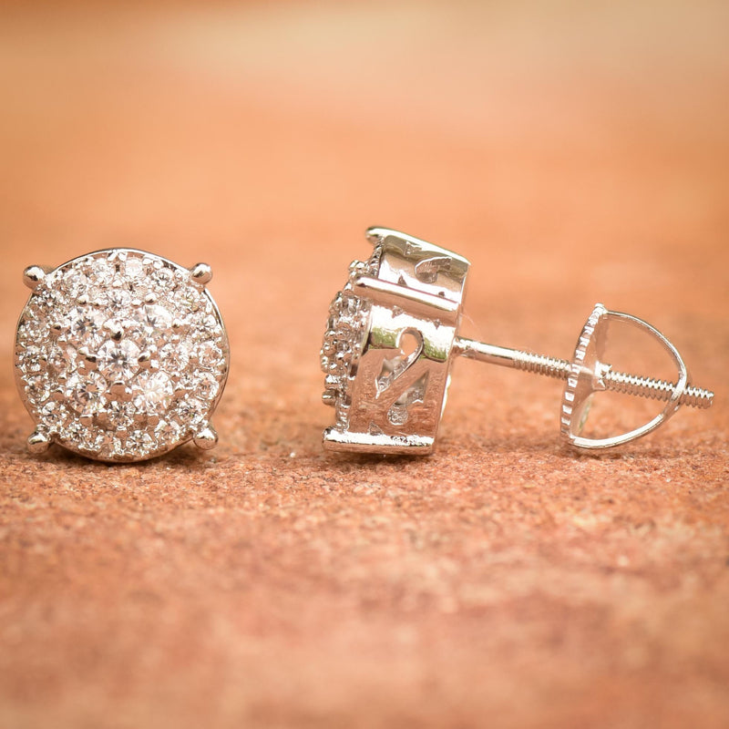 Prong Iced Out CZ Halo 14K White Gold Finish Studs