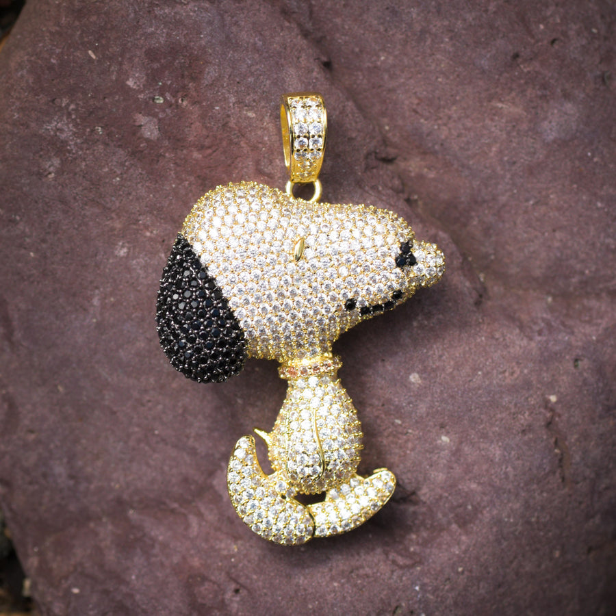 Designer New Custom Snoop Dog Pendant Fully Iced Out Layered 14k Yellow Gold Finish With Tennis Link Chain