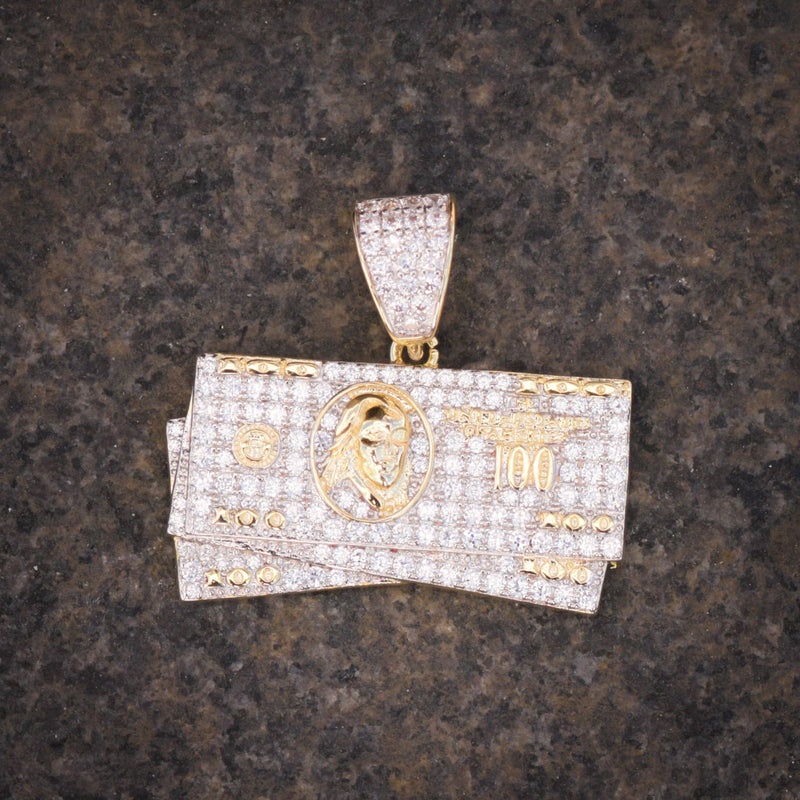 100 Hundred Dollar Bill Charm 14k Yellow Gold Finish With Tennis Link Chain